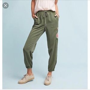 Postmark Anthropologie Green Embroidered Joggers